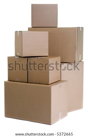 A large pile of moving boxes. One of the dreaded things in life...moving.... - stock photo