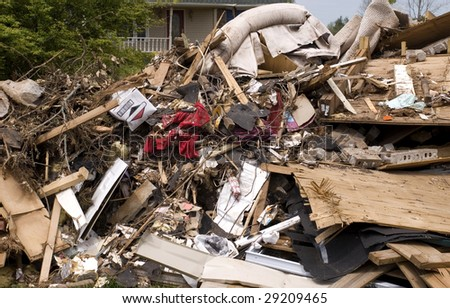 A large pile of rubble  caused from a tornado, horizontal with copy space