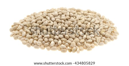 A large portion of organic navy beans isolated on a white background. - stock photo