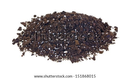 A large portion of organic potting soil on a white background.