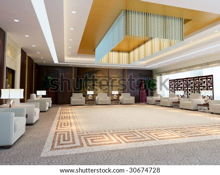 a large reception room.3d render - stock photo