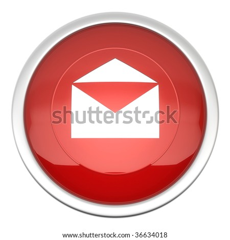 a large red mail icon in three d