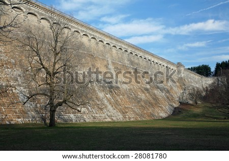 A large reservoir dam located in Valhalla, NY. - stock photo