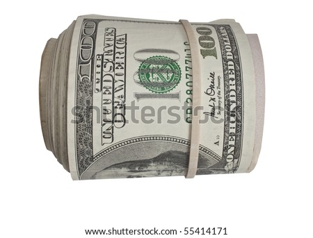 a large roll of 100 dollar bills held together by a rubber band - stock photo