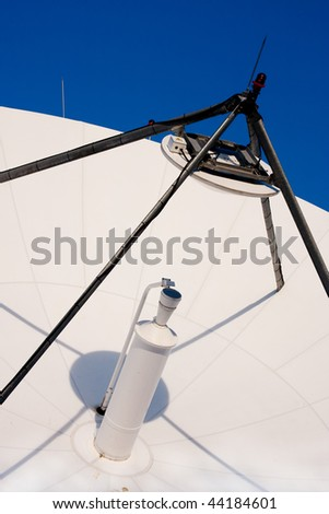 A large satellite dish for telecommunications industry aimed into space