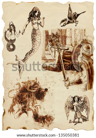 A large series of mystical creatures on an old sheet of paper - According to ancient Greek myths. /// Full sized hand drawings. - stock photo
