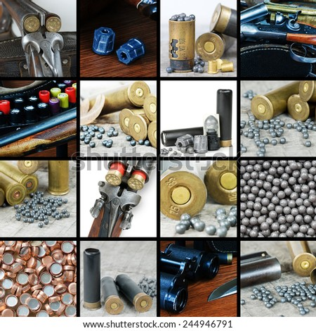 A large set of images of hunting ammunition - stock photo