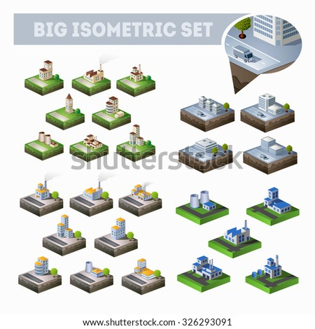 A large set of isometric city map with lots of buildings, skyscrapers, roads and factories - stock photo