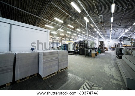 a large shop in a modern printing plant - stock photo
