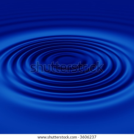 a large single rendered drop and ripples in still blue water