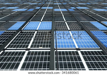 A large solar pane installation for promoting of sustainable energy  - stock photo