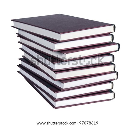 A large stack of books isolated on white with clipping path - stock photo