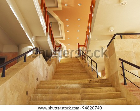 A large staircase in the building