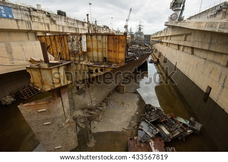 A large tanker ship were distroied in shipyard, Thailand.