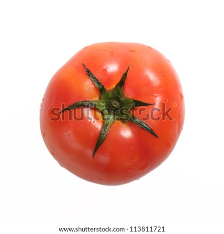 a large tomato captured from above over white background - stock photo