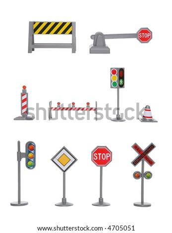 A large variety of traffic signs over a white background - stock photo