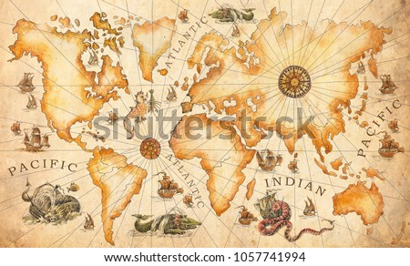 Large vintage ancient world map drawn stock illustration 1057741994 a large vintage ancient world map drawn by hand with dragons sea monsters gumiabroncs Gallery