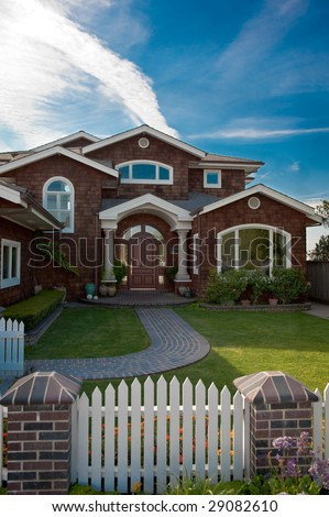 A large, well kept home on the coast of California - stock photo
