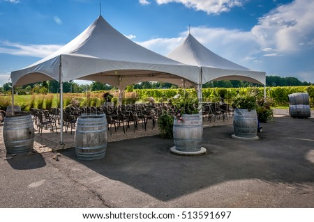 A large white wedding tent set up for an outdoor ceremony or banquet on a vineyard & Large White Wedding Tent Set Outdoor Stock Photo 513591697 ...