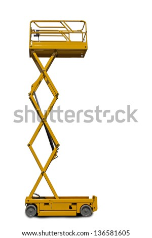 A large yellow extended  scissor lift platform over white. - stock photo