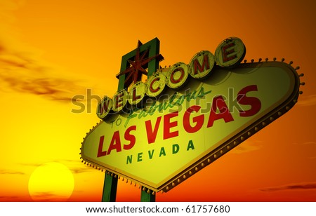 A Las Vegas sign with a beautiful sunset in the background - stock photo
