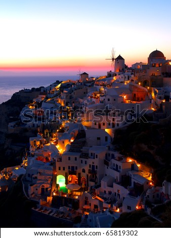 A late evening at Oia village, Santorini. Greece. - stock photo