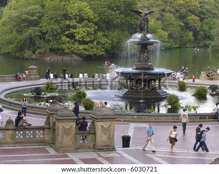 A late summer scenery at the central park fountain in New York