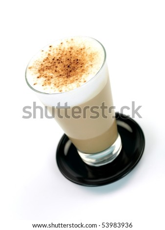 A Latte isolated on a kitchen bench - stock photo