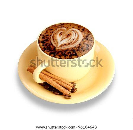 A latte or a cup of mocha isolated on a white background - stock photo