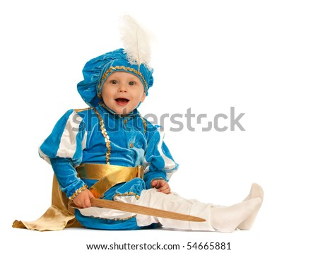is holding a toy sword; isolated on the white background - stock ...