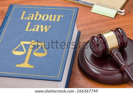 A law book with a gavel - Labour law - stock photo