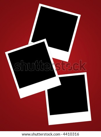 A layout using three instant photo frames on red vignette background