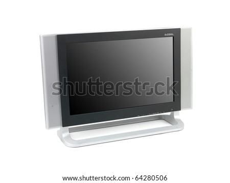 A LCD TV isolated against a white background - stock photo