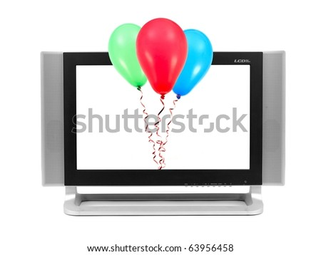 A LCD TV monitor isolated against a white background - stock photo