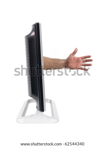 A LCD TV monitor with a hand protruding out isolated against a white background - stock photo