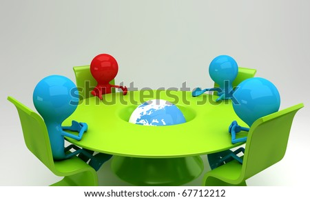 A leader and a team discussing business issues in a meeting - stock photo
