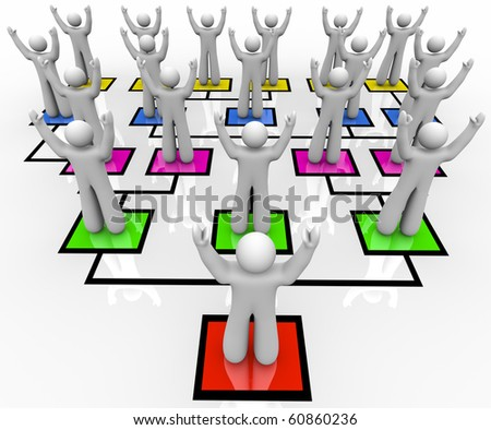 A leader motivates his workers in an organizational chart - stock photo