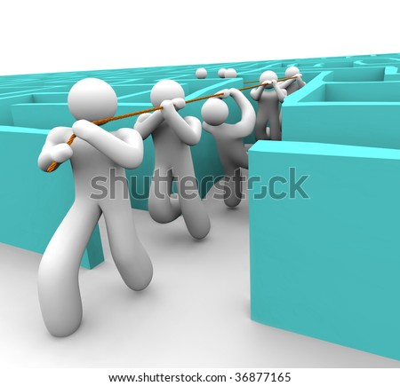 A leader pulls his team out of a confusing labyrinth - stock photo