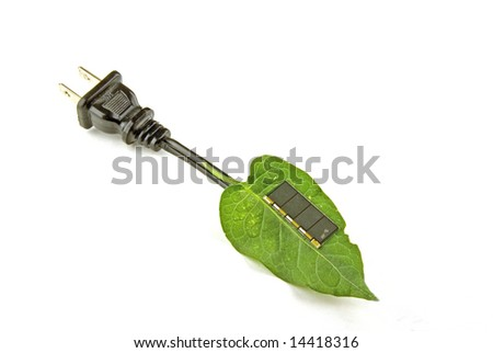 A leaf with a solar cell to make power