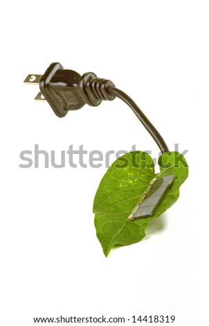 a leaf with a solar cell to make power - stock photo