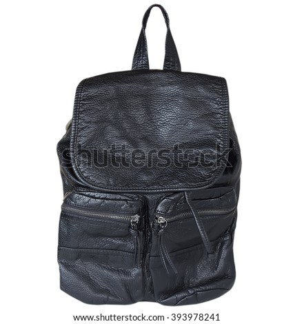 A leather backpack isolated. - stock photo