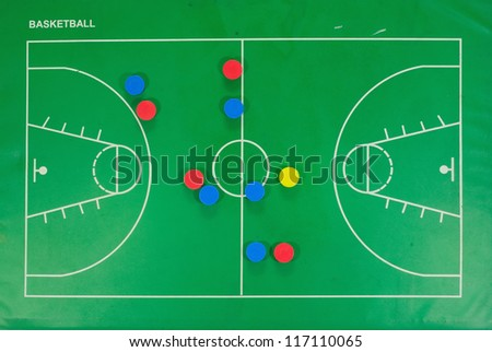 A leather basketball in front of a green chalkboard with a play or strategy - stock photo