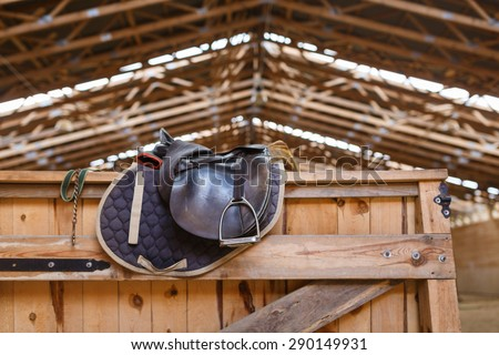 A leather saddles horse in a sports arena - stock photo
