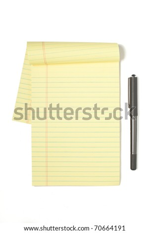 A Legal Pad Isolated on White with Pen - stock photo