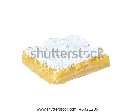 A lemon dessert bar sprinkled with powdered sugar isolated on white.