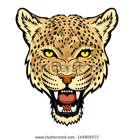 A Leopard head. Perfect for paintball mascot in a military style. This is illustration ideal for a mascot and tattoo or T-shirt graphic. Raster version - stock photo