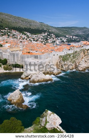 A less common view of the old city of Dubrovnik from the north side. - stock photo