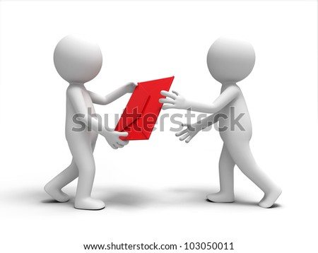 a letter /A 3d people brought a letter  to the other - stock photo