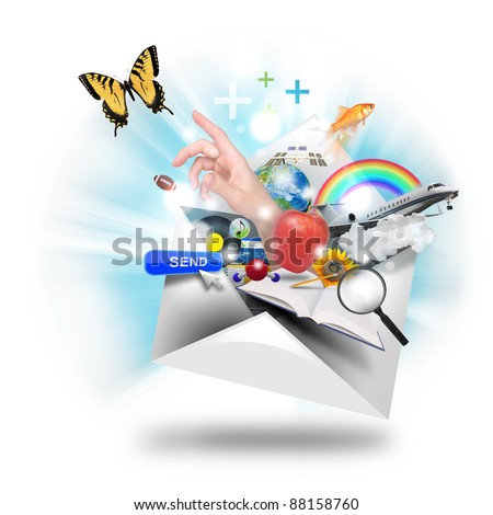 A letter or email is opening up with many object popping out such as a butterfly and book. Use it for a newsletter or mail icon. - stock photo