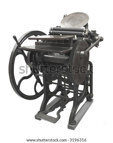 a letterpress from 1888, restored to working condition, isolated on white - stock photo